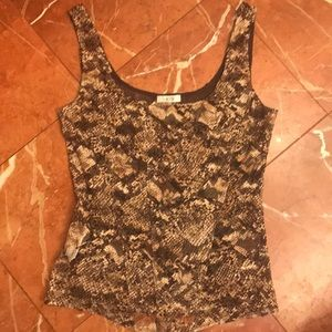 Cache stretch lace printed corset shape tank top